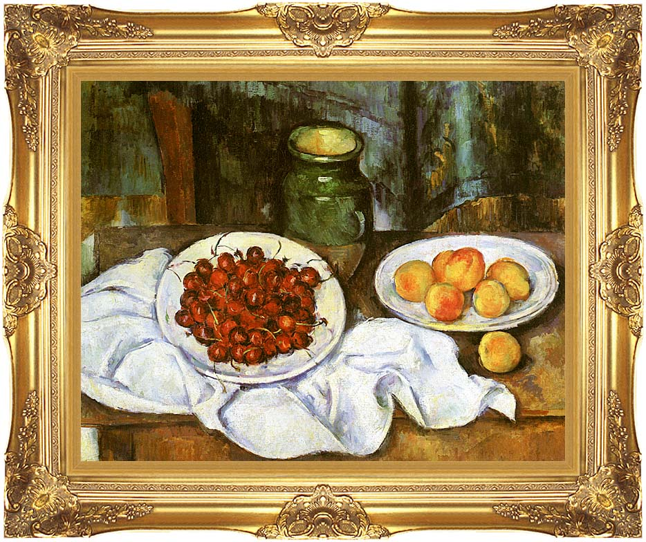 Paul Cezanne Still Life with Cherries and Peaches with Majestic Gold Frame