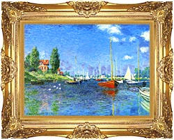 Claude Monet Red Boats Argenteuil 1875 canvas with Majestic Gold frame
