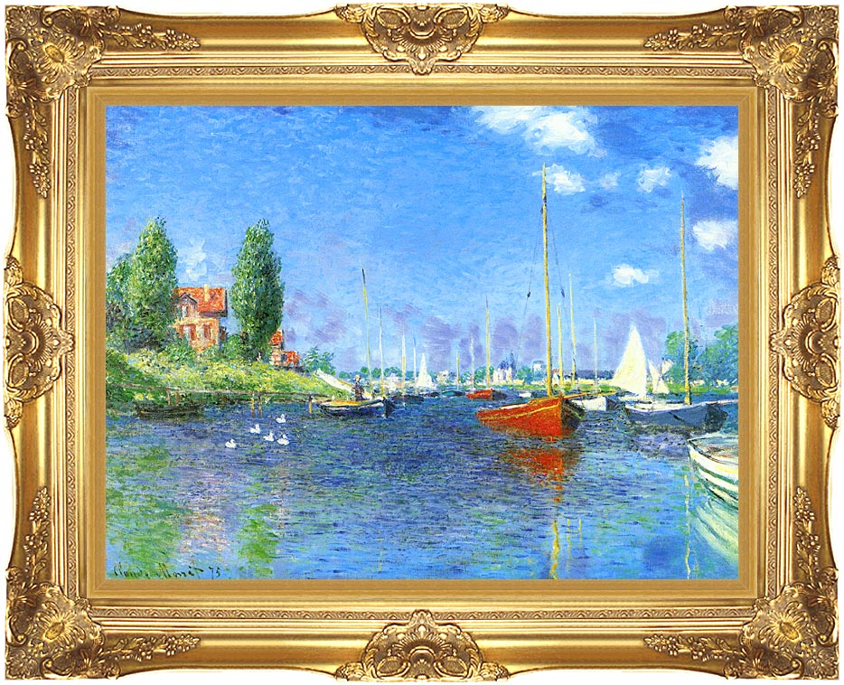 Claude Monet Red Boats, Argenteuil 1875 with Majestic Gold Frame