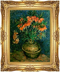 Vincent Van Gogh Fritillaries In A Copper Vase canvas with Majestic Gold frame