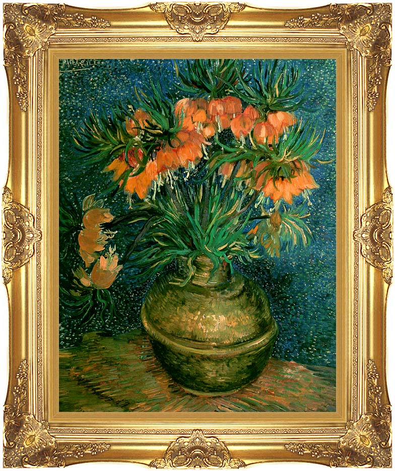 Vincent van Gogh Fritillaries in a Copper Vase with Majestic Gold Frame