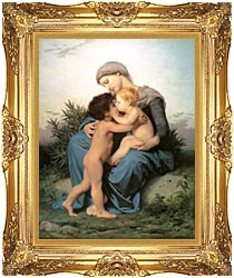 William Bouguereau Fraternal Love canvas with Majestic Gold frame