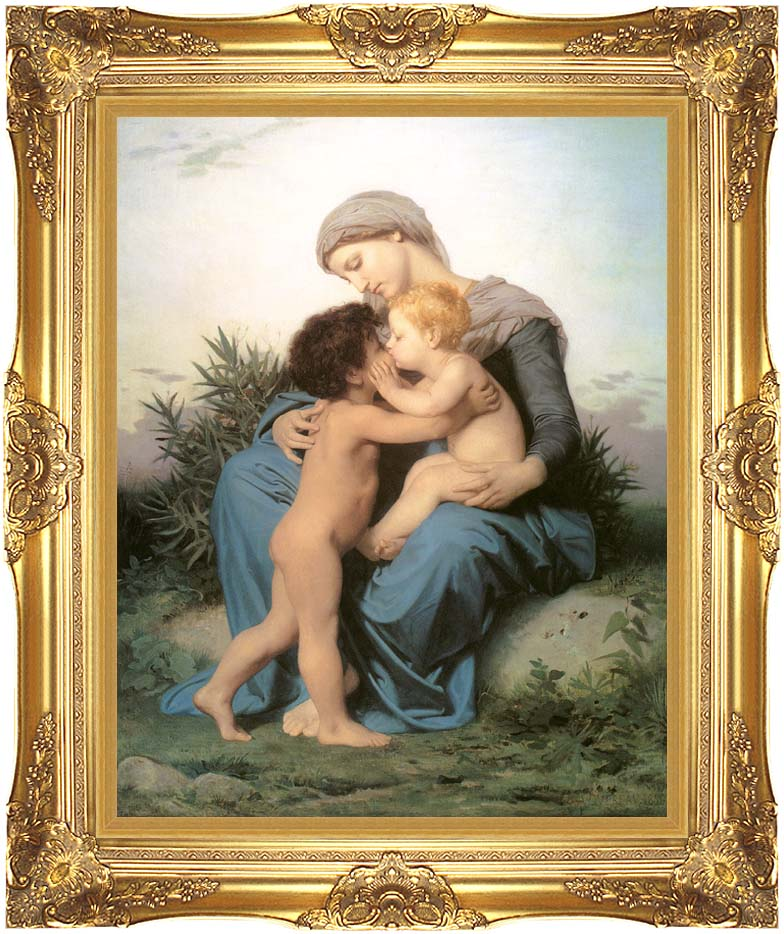 William Bouguereau Fraternal Love with Majestic Gold Frame