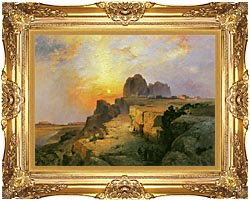 Thomas Moran Hopi Village Arizona canvas with Majestic Gold frame
