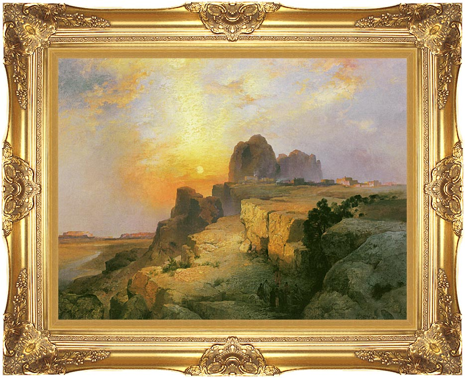 Thomas Moran Hopi Village, Arizona with Majestic Gold Frame