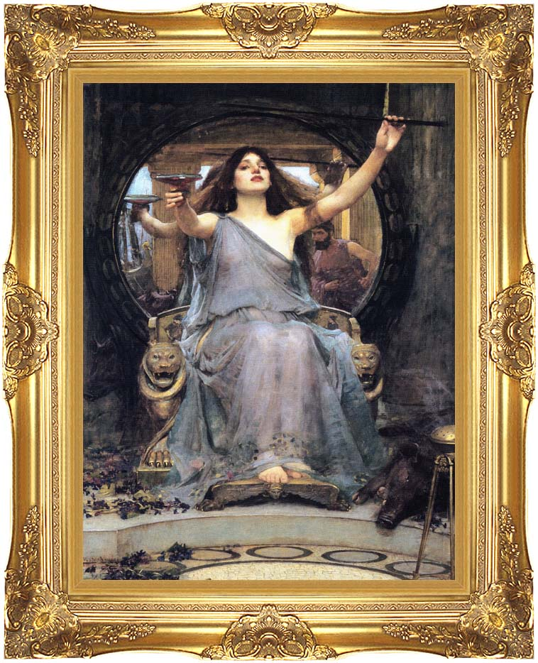 John William Waterhouse Circe Offering the Cup to Ulysses with Majestic Gold Frame