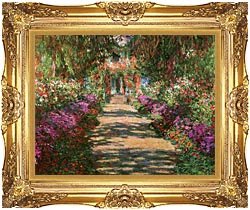 Claude Monet Main Path Through The Garden At Giverny Detail canvas with Majestic Gold frame