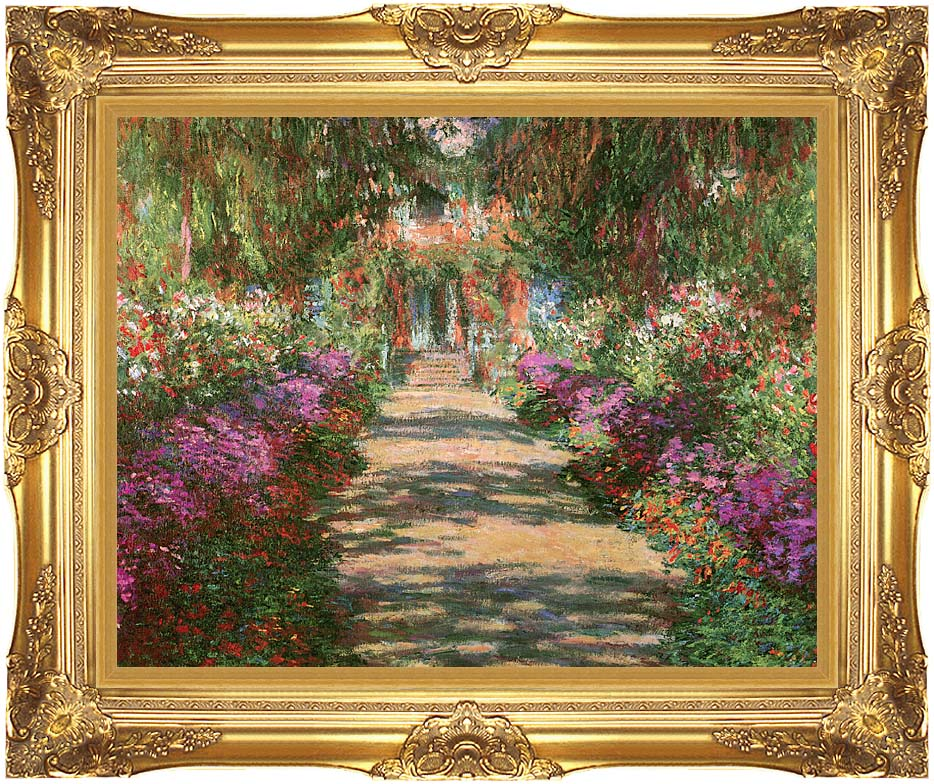 Claude Monet Main Path through the Garden at Giverny (detail) with Majestic Gold Frame