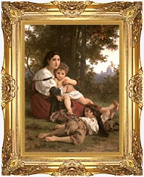 William Bouguereau Rest canvas with Majestic Gold frame