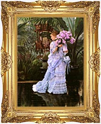 James Tissot The Bunch Of Lilacs canvas with Majestic Gold frame