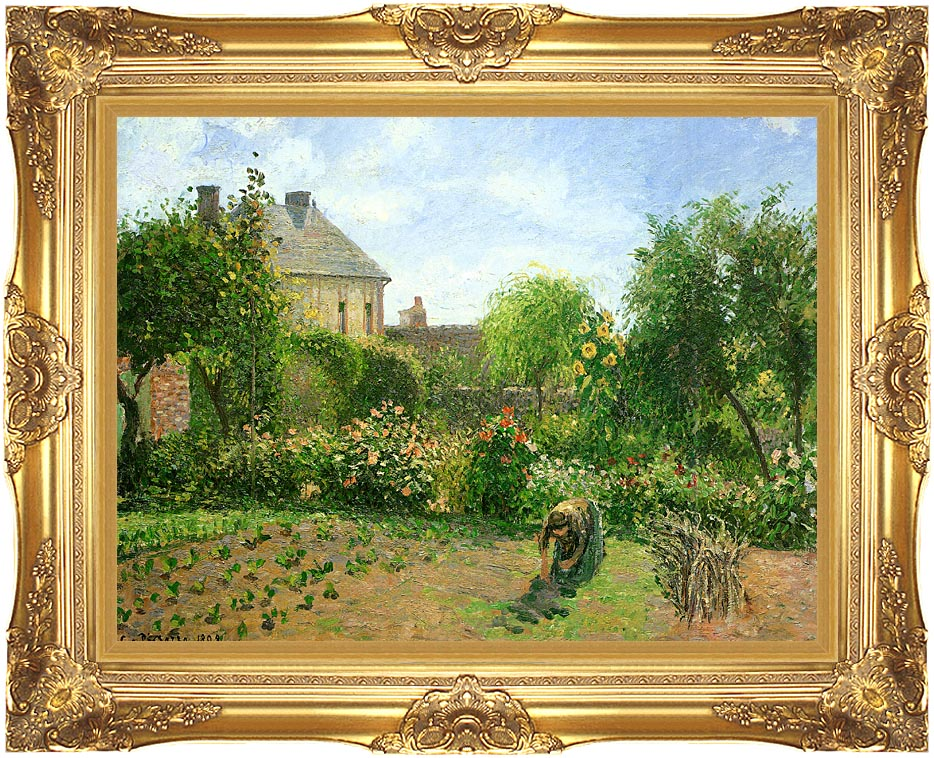 Camille Pissarro The Artist's Garden at Eragny with Majestic Gold Frame