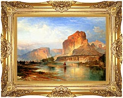 Thomas Moran Cliffs Of Green River canvas with Majestic Gold frame