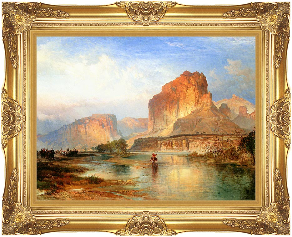 Thomas Moran Cliffs of Green River with Majestic Gold Frame