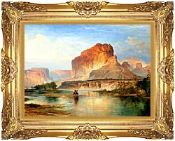 Thomas Moran Cliffs Of Green River 1874 Detail canvas with Majestic Gold frame