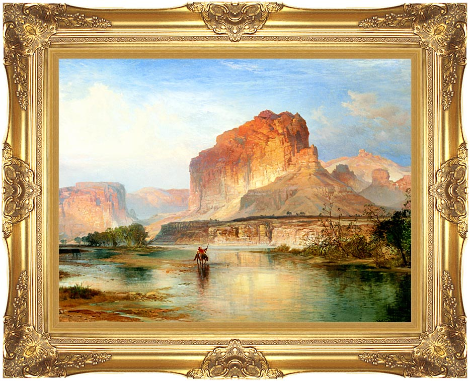 Thomas Moran Cliffs of Green River 1874 (detail) with Majestic Gold Frame