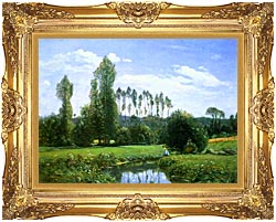 Claude Monet View From Rouelles Monets First Painting canvas with Majestic Gold frame