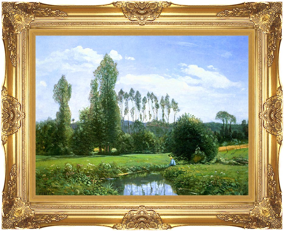 Claude Monet View from Rouelles (Monet's First Painting) with Majestic Gold Frame
