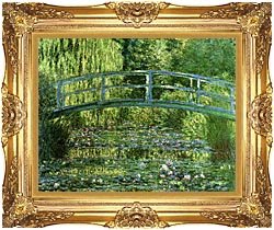 Claude Monet Water Lily Pond Harmony In Green canvas with Majestic Gold frame