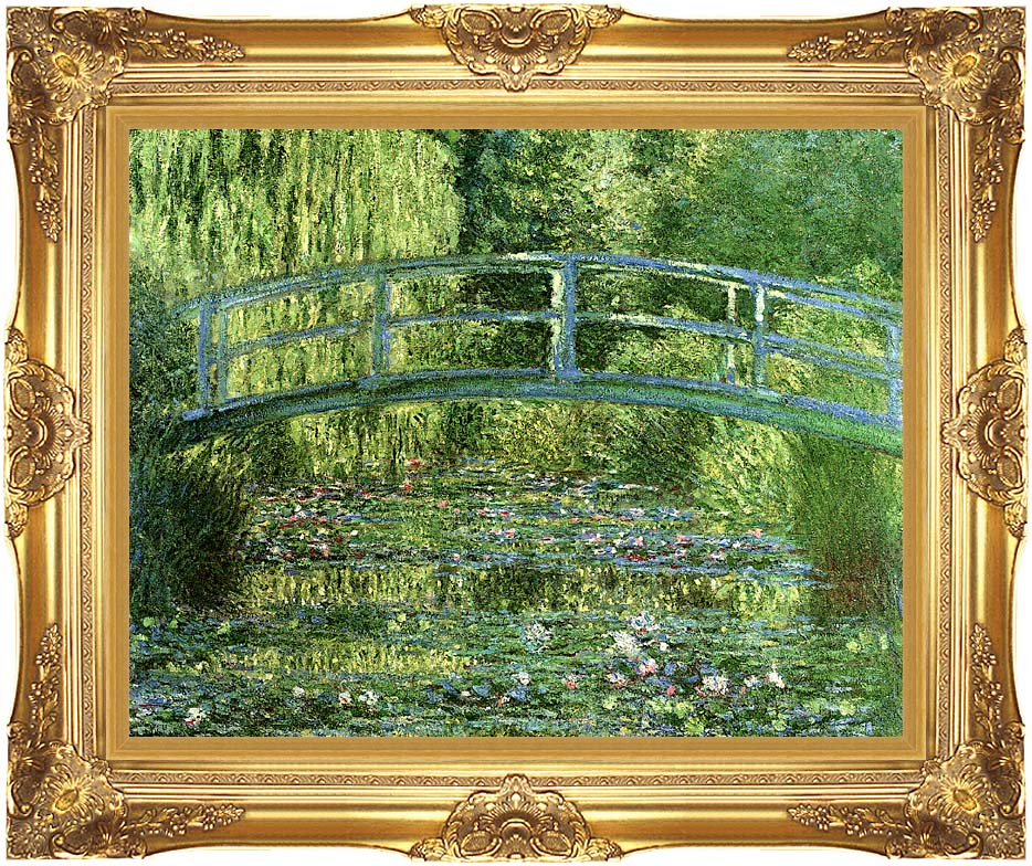 Claude Monet Water-Lily Pond, Harmony in Green with Majestic Gold Frame