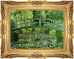 Claude Monet Water Lily Pond Harmony In Green Detail canvas with Majestic Gold frame