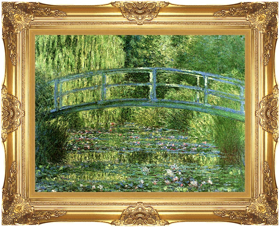 Claude Monet Water-Lily Pond, Harmony in Green (detail) with Majestic Gold Frame