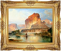 Thomas Moran Cliffs Of Green River Detail canvas with Majestic Gold frame