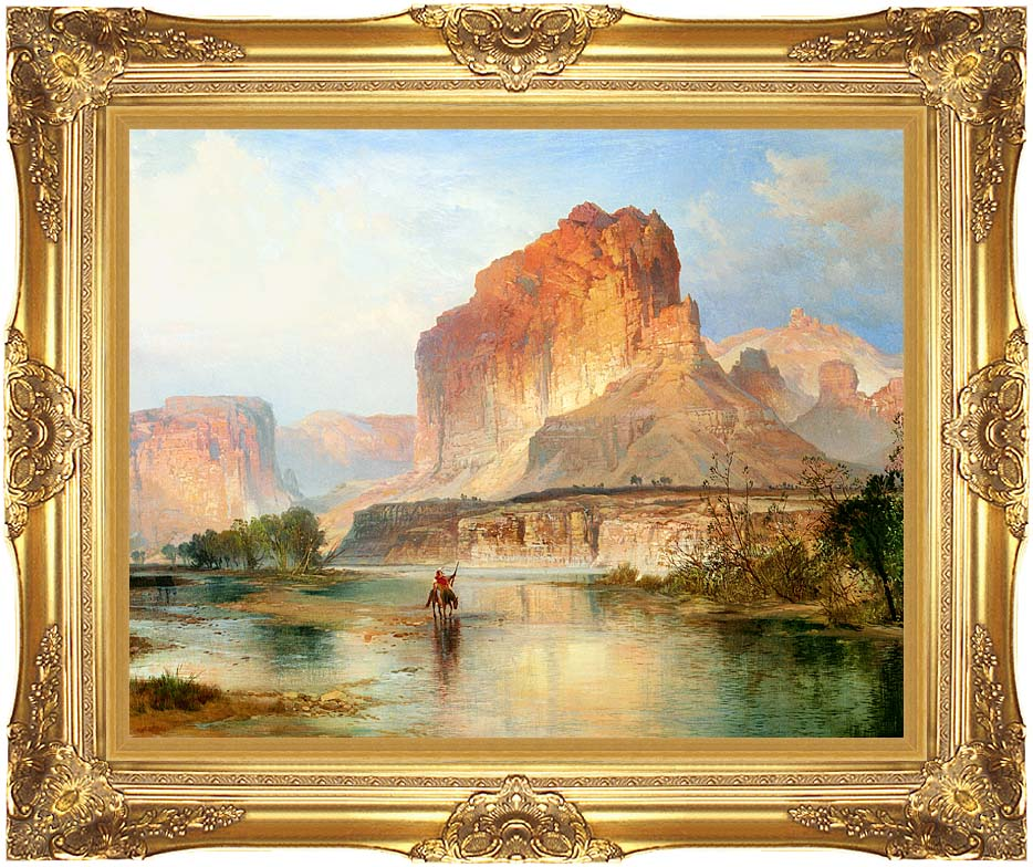 Thomas Moran Cliffs of Green River (detail) with Majestic Gold Frame
