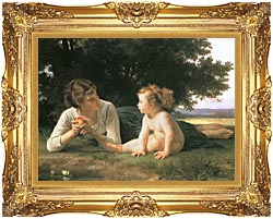 William Bouguereau Temptation canvas with Majestic Gold frame