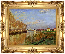 Claude Monet The Seine At Argenteuil Vanilla Sky canvas with Majestic Gold frame