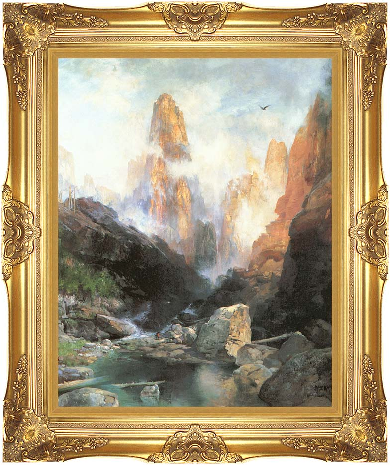 Thomas Moran Mist in Kanab Canyon, Utah with Majestic Gold Frame
