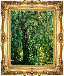 Claude Monet Weeping Willow Detail canvas with Majestic Gold frame