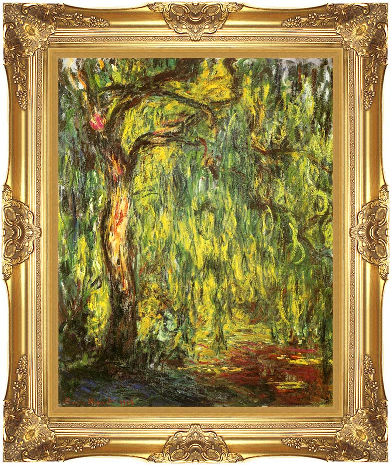 Claude Monet Landscape, Weeping Willow with Majestic Gold Frame