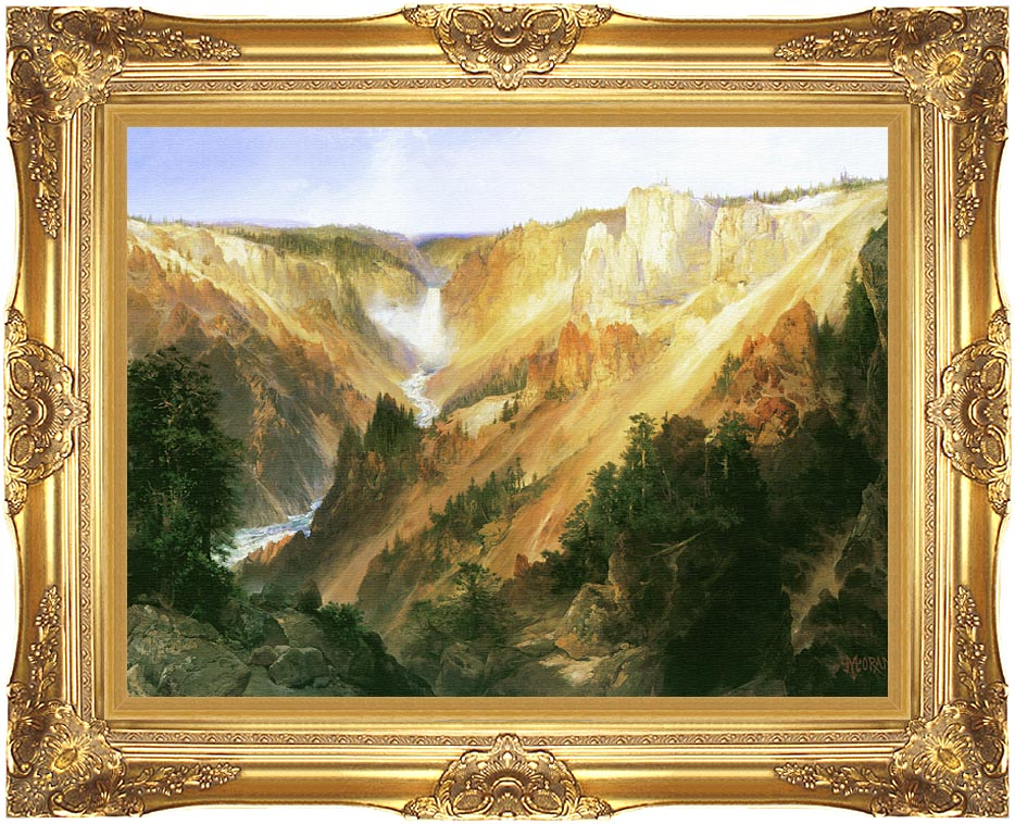 Thomas Moran Lower Falls of the Yellowstone with Majestic Gold Frame