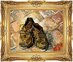 Vincent Van Gogh A Pair Of Old Shoes canvas with Majestic Gold frame