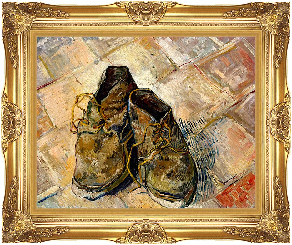Vincent van Gogh A Pair of Old Shoes with Majestic Gold Frame