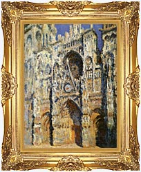 Claude Monet Rouen Cathedral The Portal And The Tour Sainte Romain Full Sunlight Harmony In Blue And Gold canvas with Majestic Gold frame