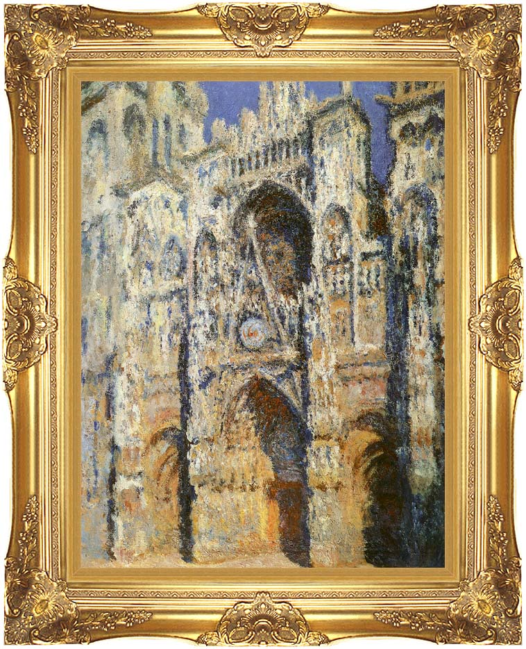 Claude Monet Rouen Cathedral, The Portal and the Tour Sainte-Romain, Full Sunlight: Harmony in Blue and Gold with Majestic Gold Frame