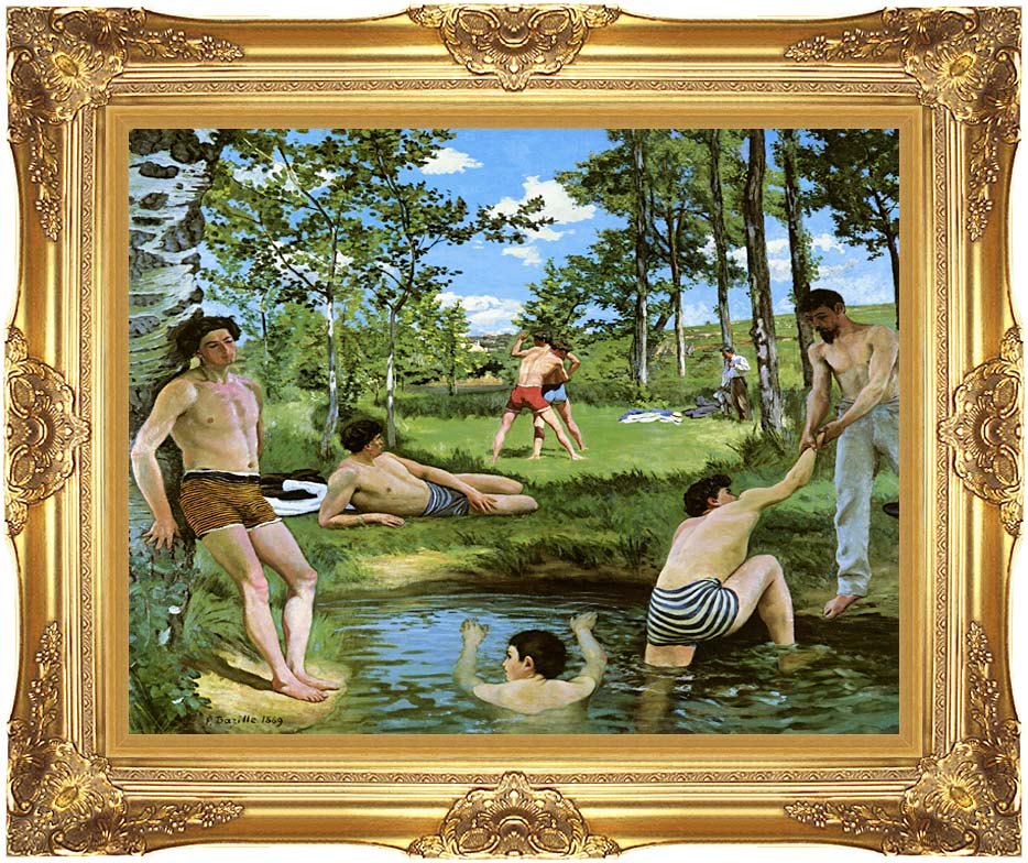 Frederic Bazille Summer Scene with Majestic Gold Frame