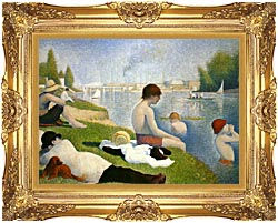 Georges Seurat Bathers At Asnieres canvas with Majestic Gold frame
