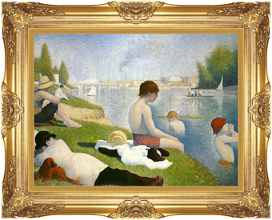 Georges Seurat Bathers at Asnieres with Majestic Gold Frame