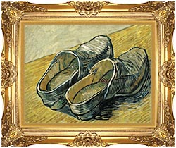Vincent Van Gogh A Pair Of Leather Clogs canvas with Majestic Gold frame