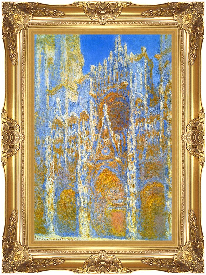 Claude Monet Rouen Cathedral, Sunlight Effect with Majestic Gold Frame