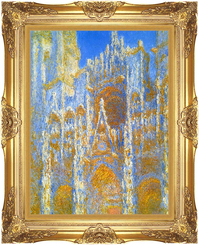 Claude Monet Rouen Cathedral, Sunlight Effect (detail) with Majestic Gold Frame
