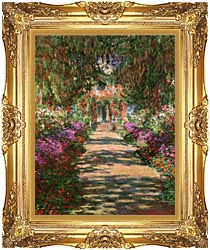 Claude Monet Main Path Through The Garden At Giverny Portrait Detail canvas with Majestic Gold frame