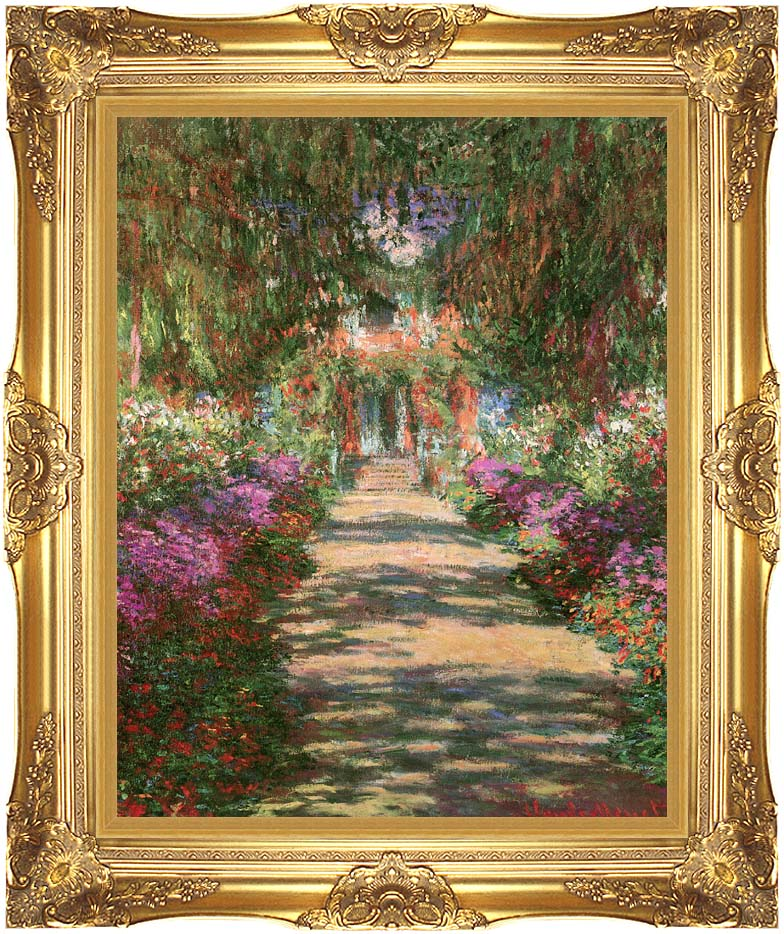 Claude Monet Main Path through the Garden at Giverny (portrait detail) with Majestic Gold Frame