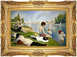 Georges Seurat Bathers At Asnieres Detail canvas with Majestic Gold frame
