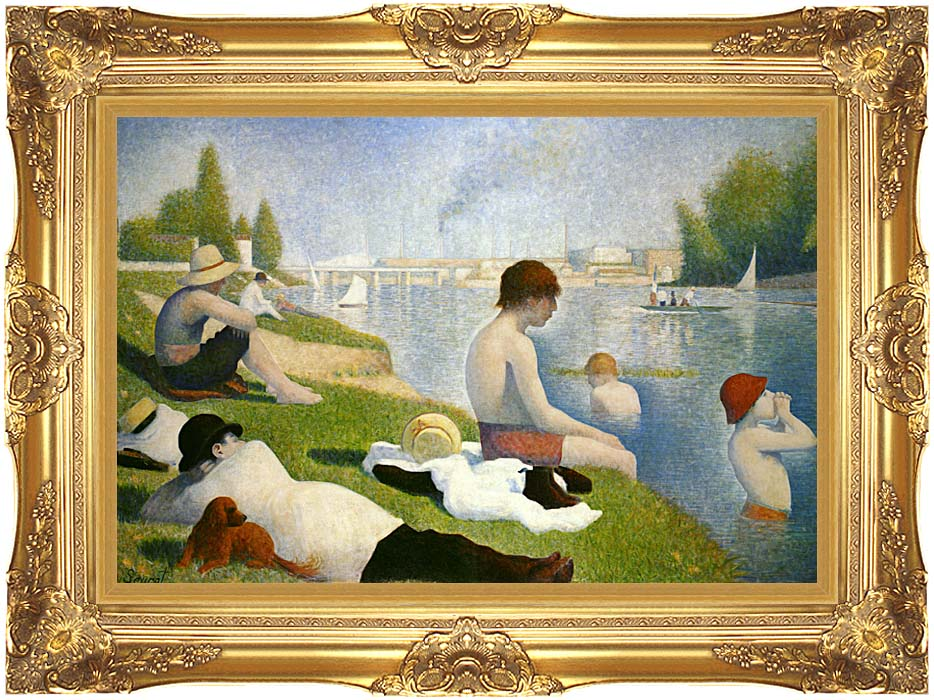 Georges Seurat Bathers at Asnieres (detail) with Majestic Gold Frame