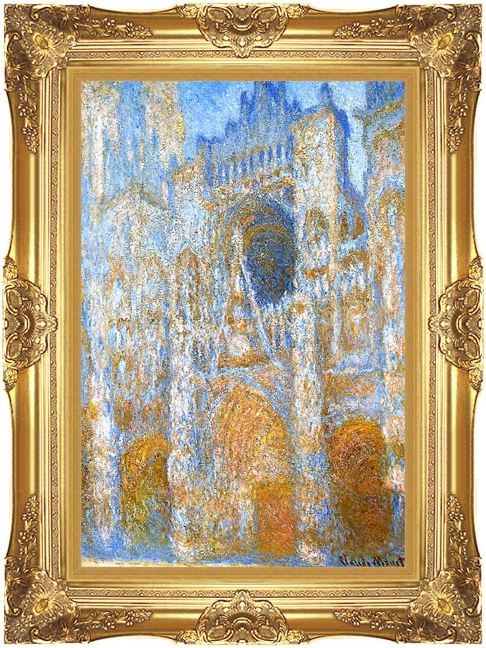 Claude Monet The Portal of Rouen Cathedral at Midday with Majestic Gold Frame