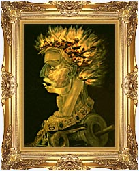 Giuseppe Arcimboldo Fire canvas with Majestic Gold frame