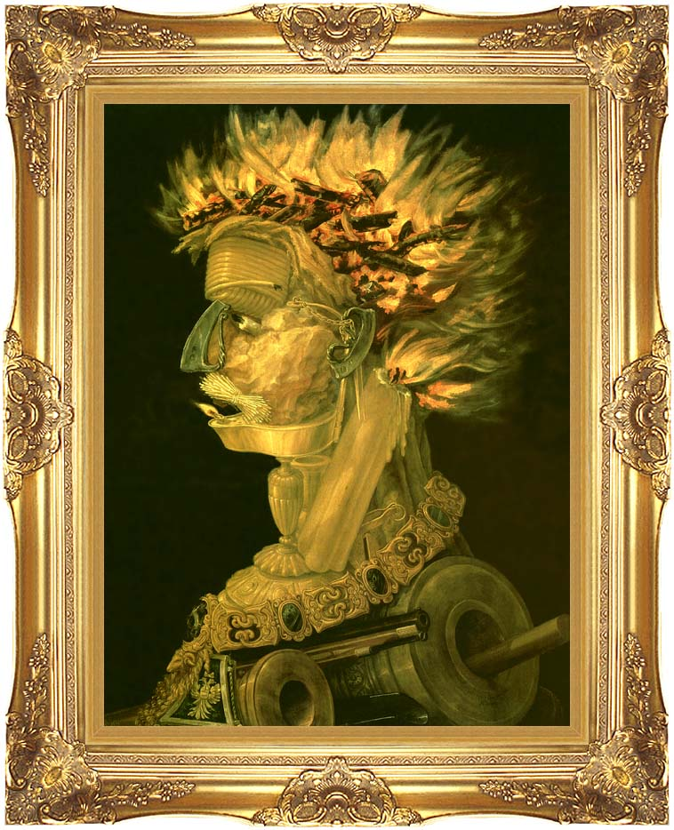 Giuseppe Arcimboldo Fire with Majestic Gold Frame